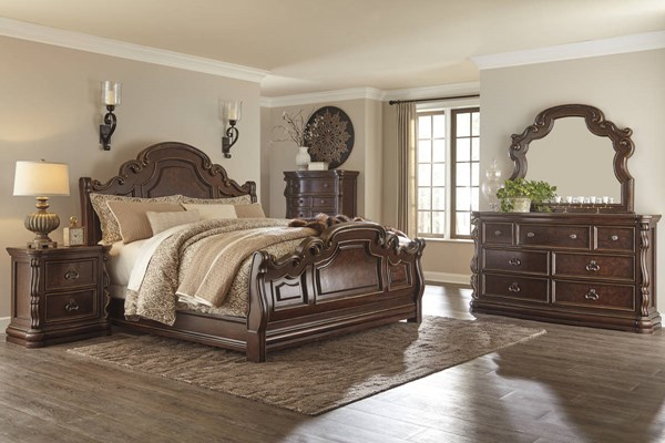 Florentown Traditional Dark Brown Solid Wood 2pc Bedroom Sets B715-BR-S-VAR