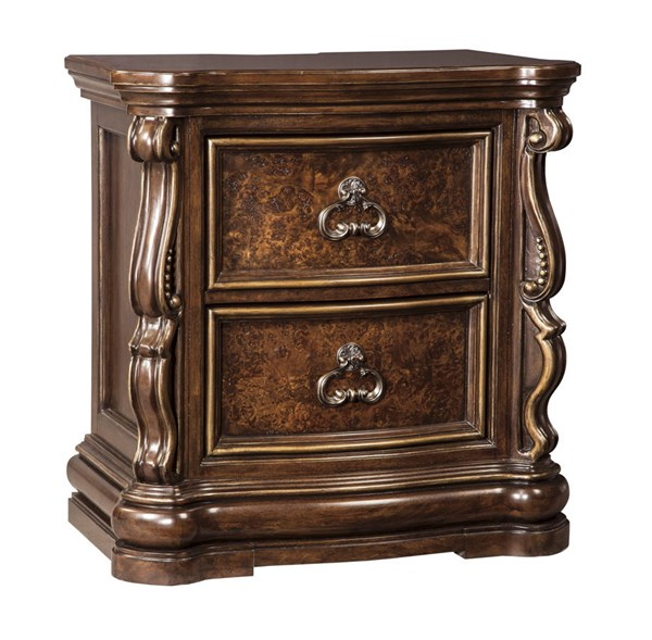 Florentown Traditional Dark Brown Solid Wood Two Drawer Night Stand B715-92