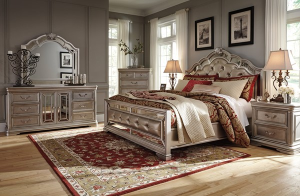 Birlanny Silver Faux Leather Solid Hardwood Master Bedroom Set B720-BR