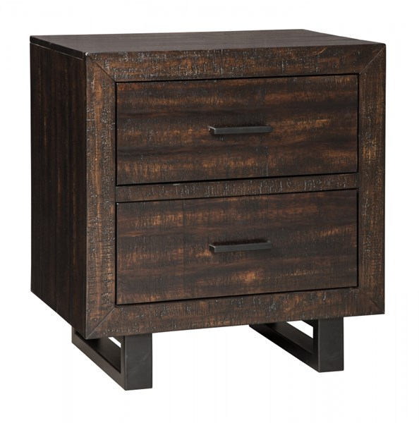 Parlone Casual Dark Brown Wood Two Drawer Night Stand
