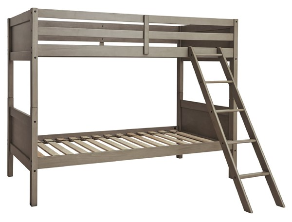 Ashley Furniture Lettner Light Gray Twin Over Twin Bunk Bed With Ladder B733-59