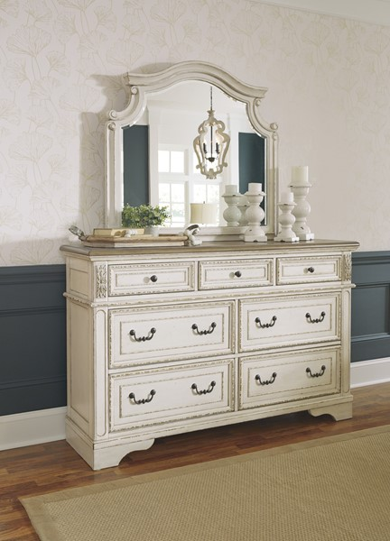 Ashley Furniture Realyn Chipped White Dresser And Mirror B743-DRMR