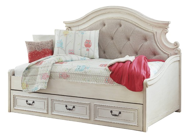 Ashley Furniture Realyn Chipped White Twin Storage Day Bed The Classy Home