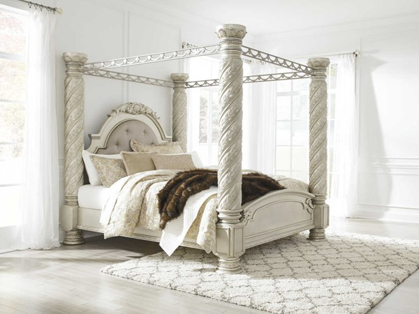Ashley Furniture Cassimore King Poster Canopy Bed The Classy Home