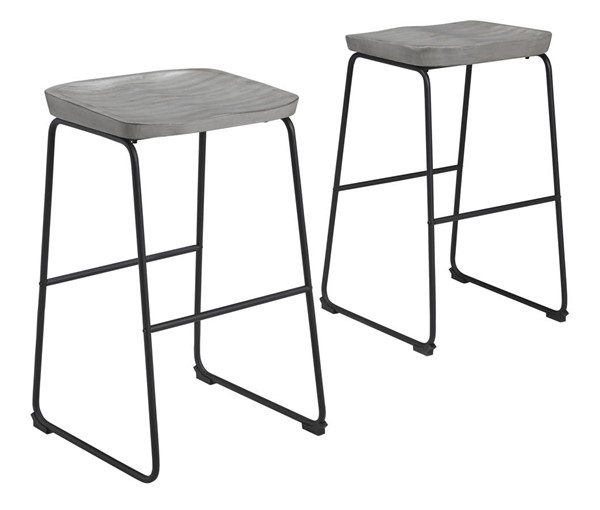 2 Ashley Furniture Showdell Grayish Brown Black Tall Barstools D205-030