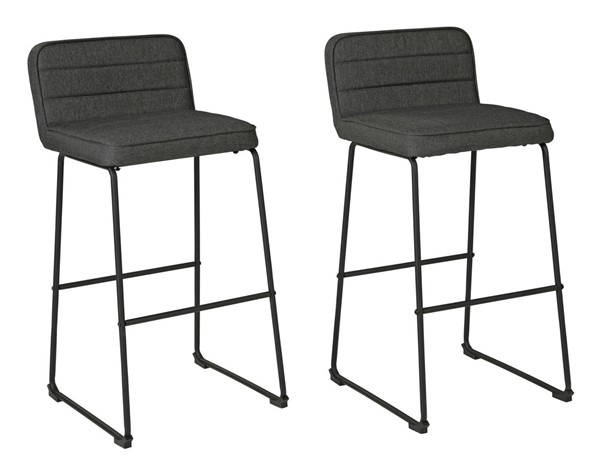 2 Ashley Furniture Nerison Gray Tall  Upholstered Barstools D225-230
