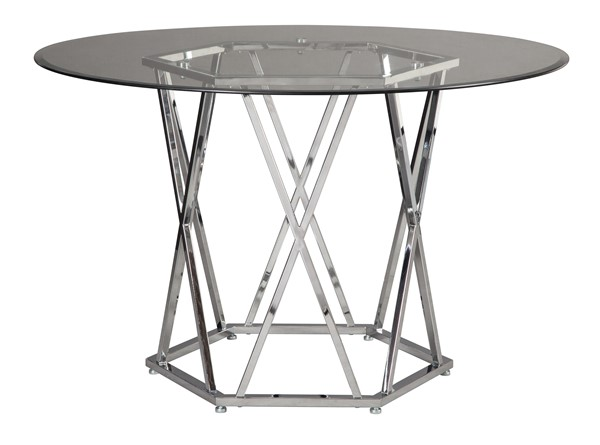 Ashley Furniture Madanere Chrome Round Dining Room Table D275-15
