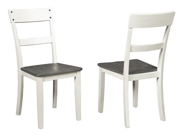 2 Ashley Furniture Nelling White Dark Brown Dining Side Chairs D287-01