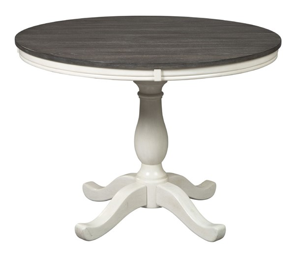 Ashley Furniture Nelling White Dark Brown Round Dining Table D287-15-RTBL