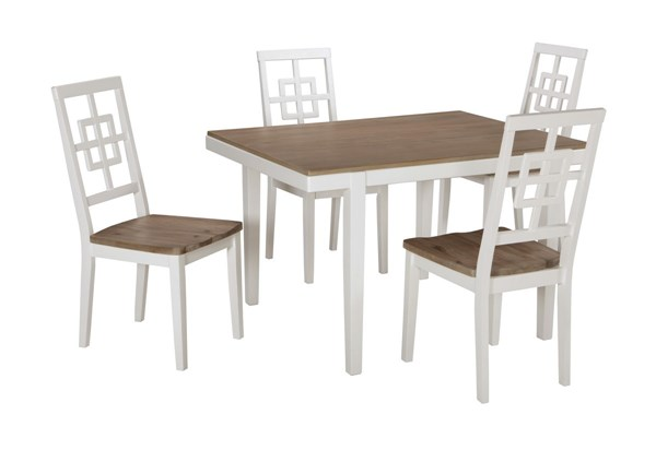 Brovada Contemporary Two Tone Solid Wood 5pc Dining Room Table Set D298-225