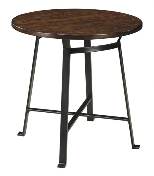 Challiman Vintage Casual Brown Wood Metal Round Bar Table D307-12