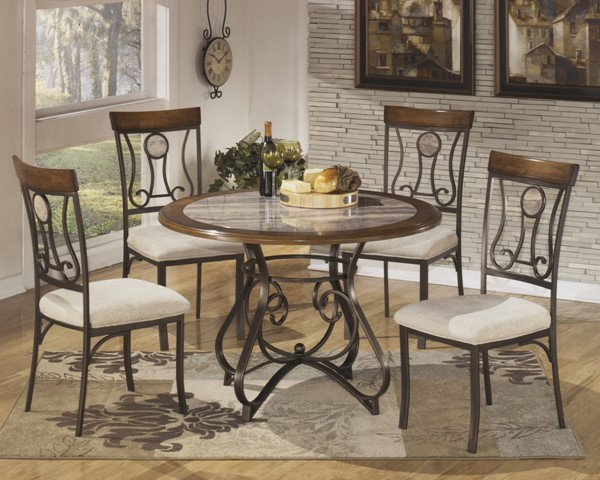 Hopstand Traditional Brown Metal Fabric Dining Room Set D314
