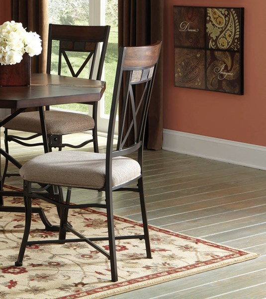 4 Vinasville Casual Fabric Wood Metal Dining Upholstered Side Chairs D315-01