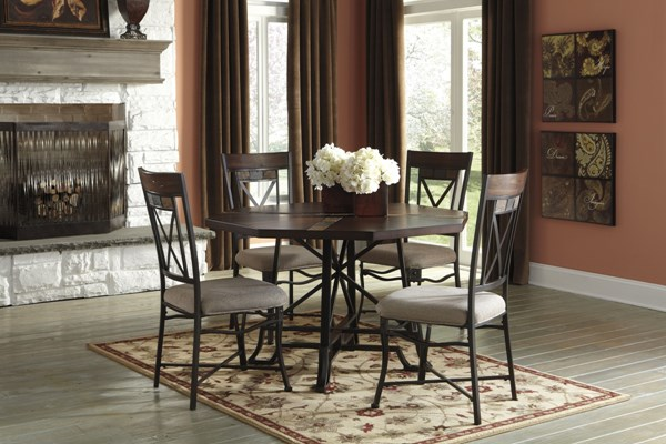 Vinasville Medium Brown Wood Metal 5pc Dining Room Set D315-DR-S