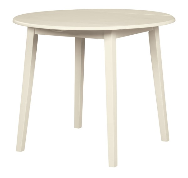 Ashley Furniture Slannery White Round Drop Leaf Dining Table D318-15