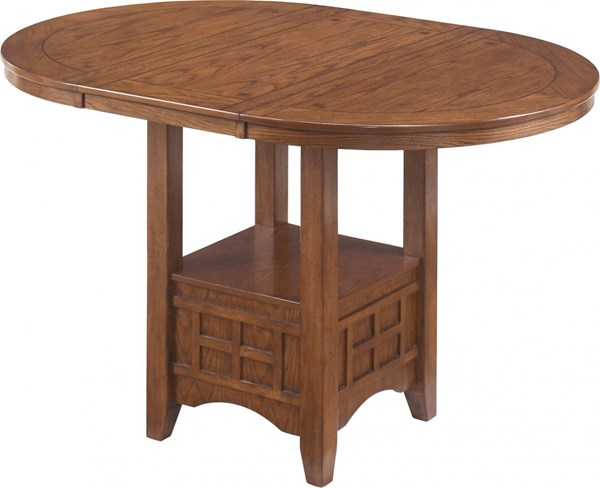 Cross Island Traditional Brown Oak Wood Counter Height Table D319-42