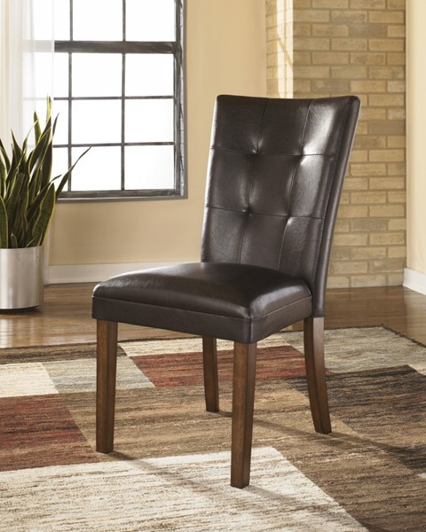 2 Lacey Medium Brown Wood Upholstered Side Chairs D328-01