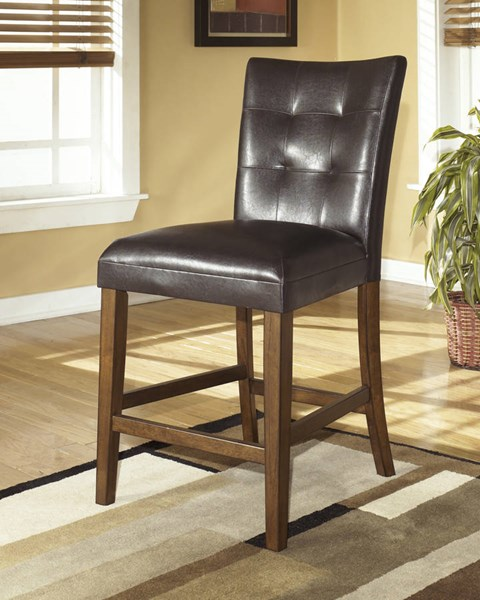 2 Lacey Contemporary Brown Finish Wood PVC Upholstered Barstools D328-124