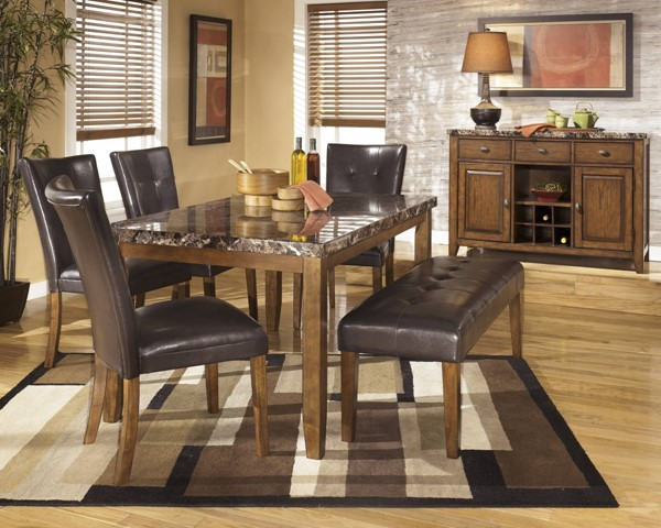 Lacey Contemporary Brown Wood Marble Dining Sets D328
