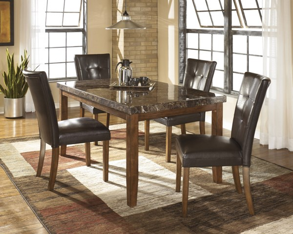 Lacey Medium Brown Wood 5pc Dining Room Set D328-Sets2