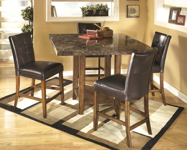 Lacey Contemporary Brown Wood PVC Marble 5pc Counter Set D328BR-SET5