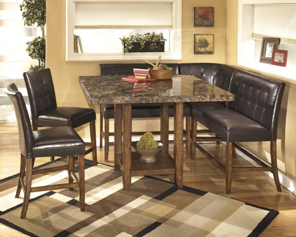Lacey Contemporary Brown PVC Wood Faux Marble 6pc Counter Set D328-GRP
