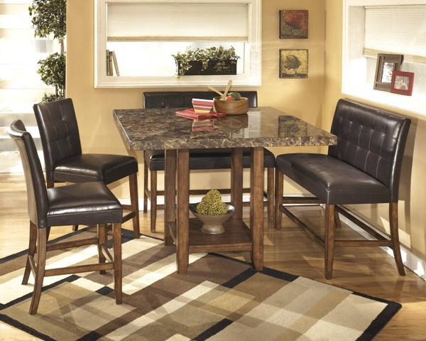 Lacey Contemporary Brown PVC Wood Marble 5pc Counter Set D328-2-GRP