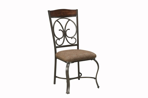 4 Glambrey Old World Brown Fabric Dinette Upholstered Side Chairs D329-01