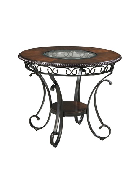Glambrey Old World Wood Metal Brown Round DRM Counter Table D329-13