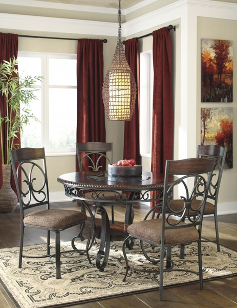 Glambrey Old World Brown Metal Casual Dinette Room Set D329-01-DR