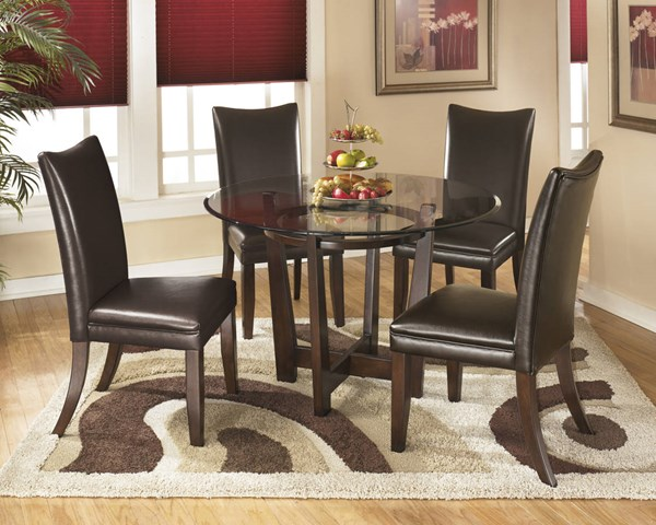Charrell Casual Brown Glass Wood Faux Leather 5pc Dining Room Sets D357-DR-S