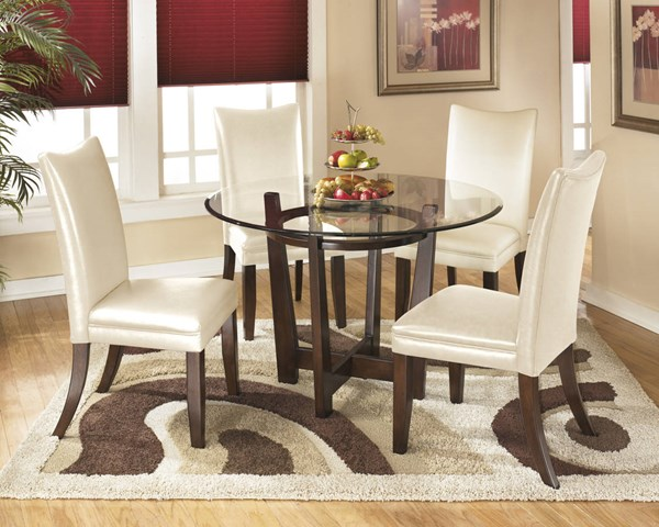 Charrell Casual Ivory Glass Wood Faux Leather 5pc Dining Room Set D357-DR-S2