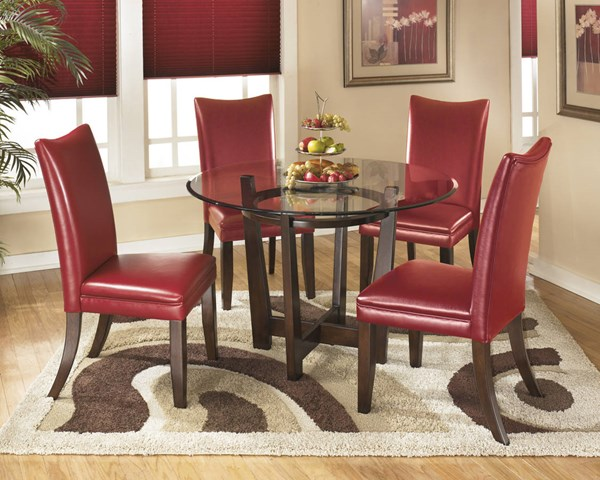 Charrell Casual Red Glass Wood Faux Leather 5pc Dining Room Set D357-DR-S3