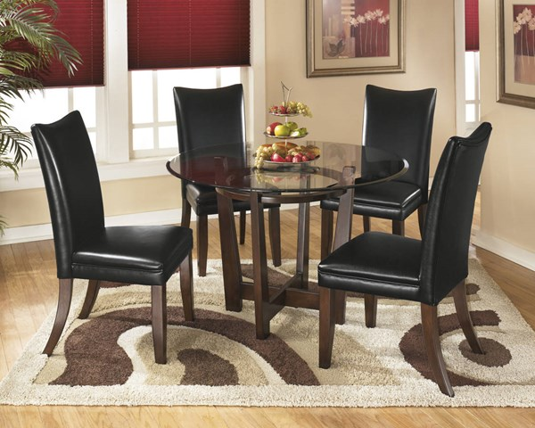 Charrell Casual Black Glass Wood Faux Leather Wood 5pc Dining Room Set D357-DR-S4