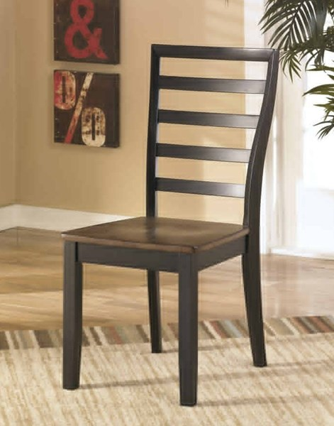 2 Alonzo Contemporary Two-Tone Brown Wood Dining Room Side Chairs D367-01