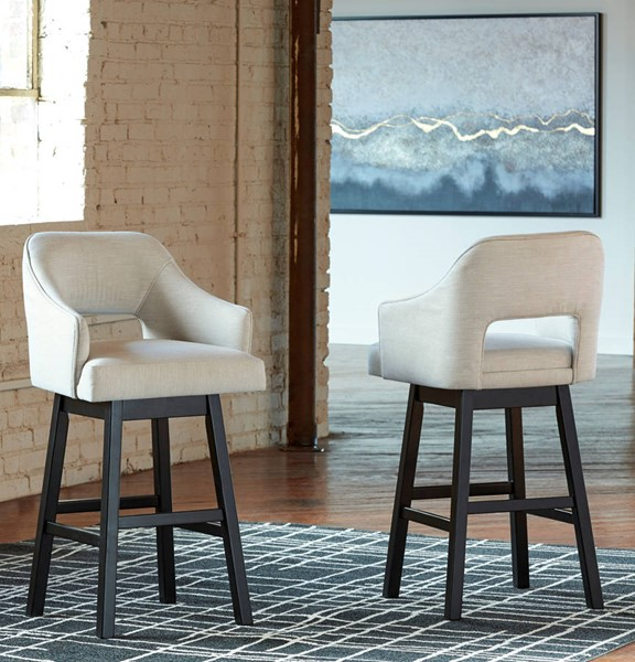 2 Ashley Furniture Tallenger Tall Upholstered Swivel Barstools D380-730