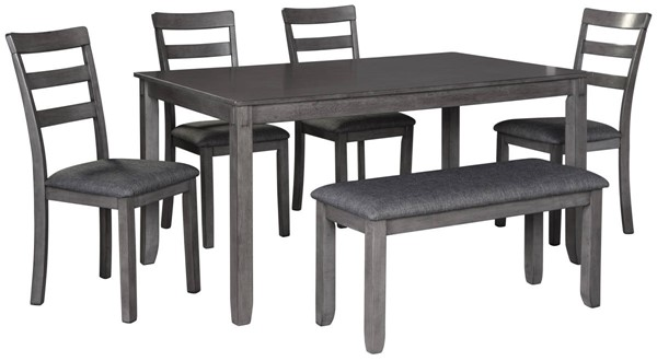 Ashley Furniture Bridson Gray Rectangle 6pc Dining Room Set D383-325