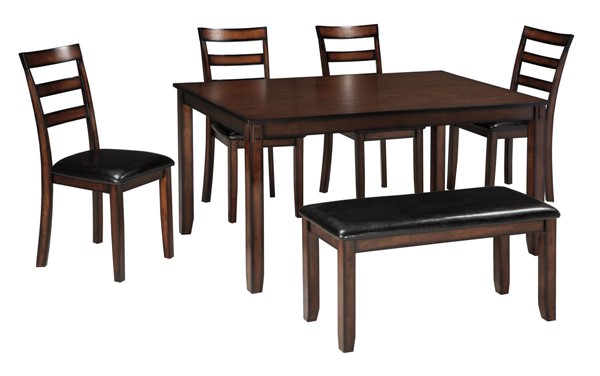 Ashley Furniture Coviar Brown 6pc Dining Room Table Set D385-325