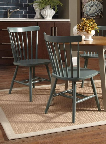4 Bantilly Vintage Casual Light Blue Wood Dining Room Chairs D389-02