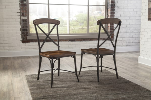 2 Rolena Vintage Casual Brown Wood Metal Dining Room Side Chairs D405-01
