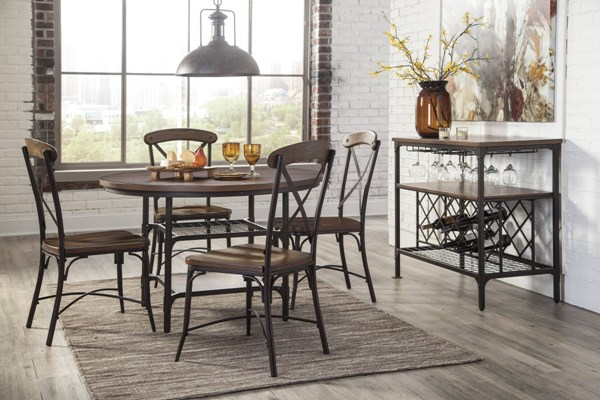 Rolena Vintage Casual Brown Wood Metal Dining Set W/Round Table ROLENA-DB-BNDL