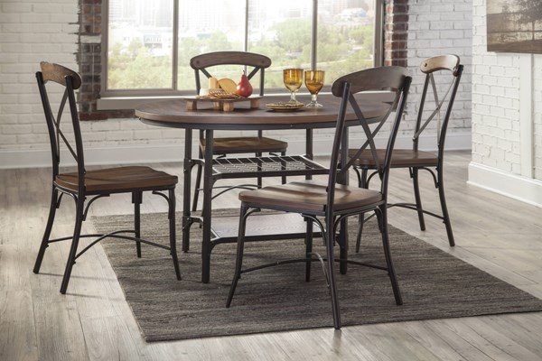 Rolena Brown Wood Metal 5pc Dining Room Set W/Round Table D405-DR-RND-S1