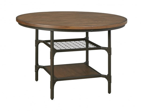 Rolena Vintage Casual Brown Wood Metal Round Dining Room Table D405-15
