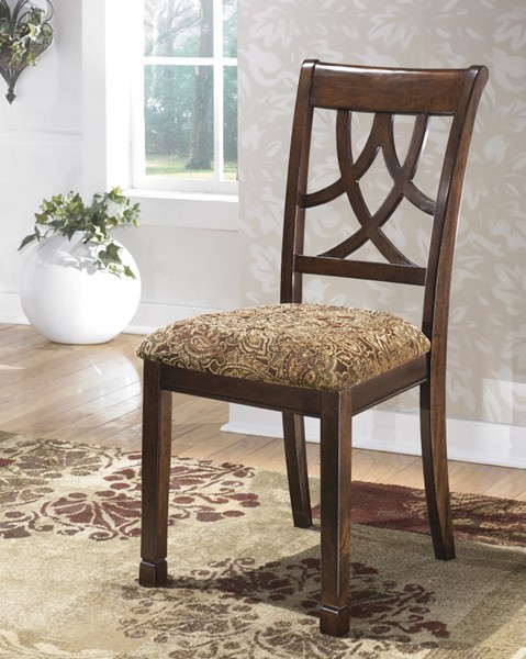 2 Leahlyn Traditional Brown Fabric Wood Dining Upholstered Side Chairs D436-01