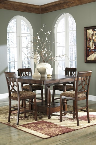 Leahlyn Traditional Brown Wood Fabric 5pc Counter Set D436-124-CHB-S1