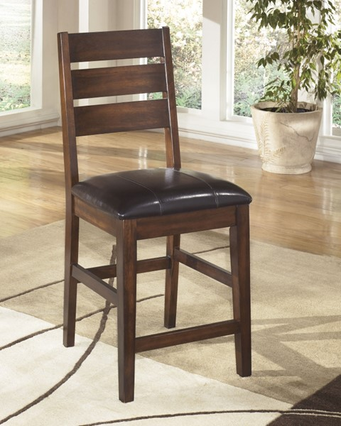 2 Larchmont Brown Faux Leather Wood Upholstered Ladder Back Barstools D442-124