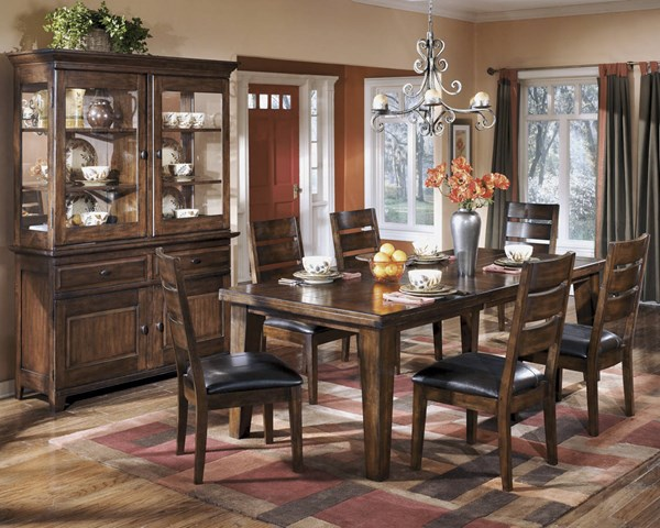 Larchmont Traditional Dark Brown Wood Faux Leather 7pc Dining Room Set D442-Sets3