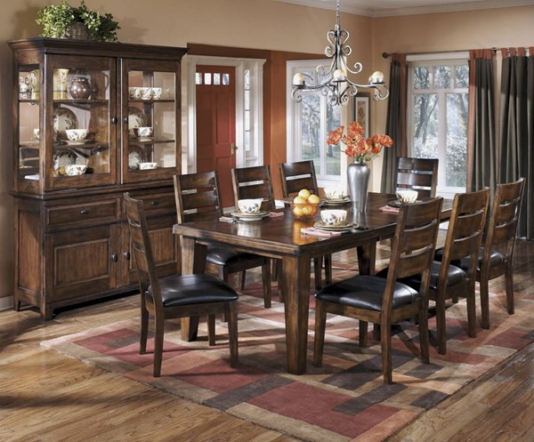 Larchmont Traditional Dark Brown Wood Faux Leather 9pc Dining Room Set D442DT-Set