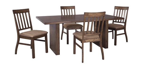 Zilmar Contemporary Medium Brown Wood 5pc Dining Room Complete Set D448-DR-S2