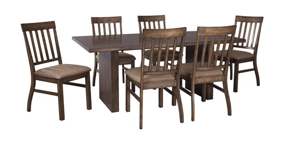 Zilmar Contemporary Medium Brown Solid Wood 7pc Dining Room Set D448-DR-S1